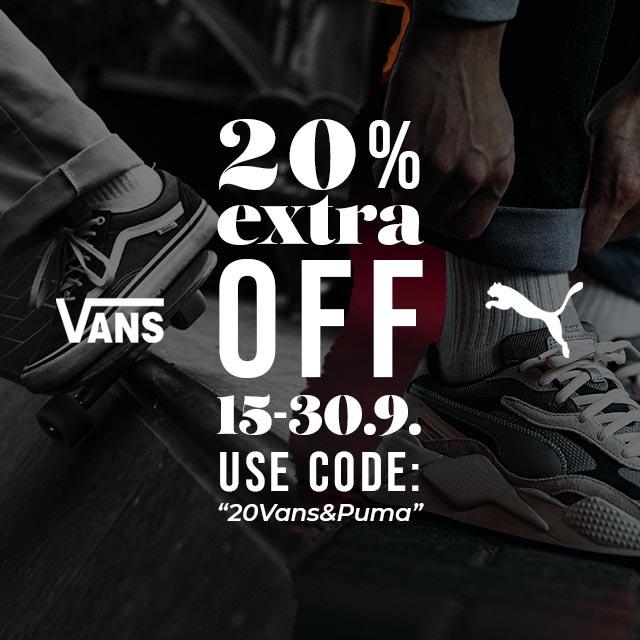 Vans & Puma - 20% EXTRA sale